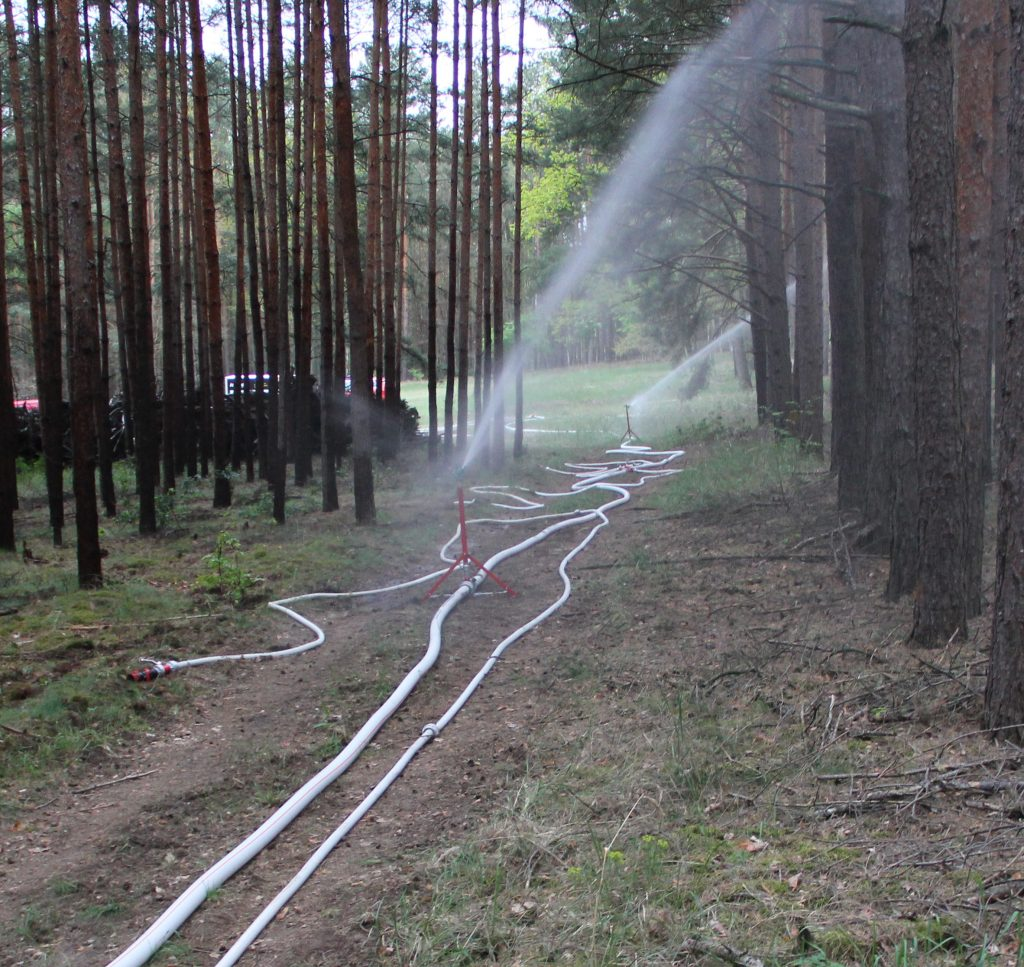 forest fire fighting with circular sprinkler